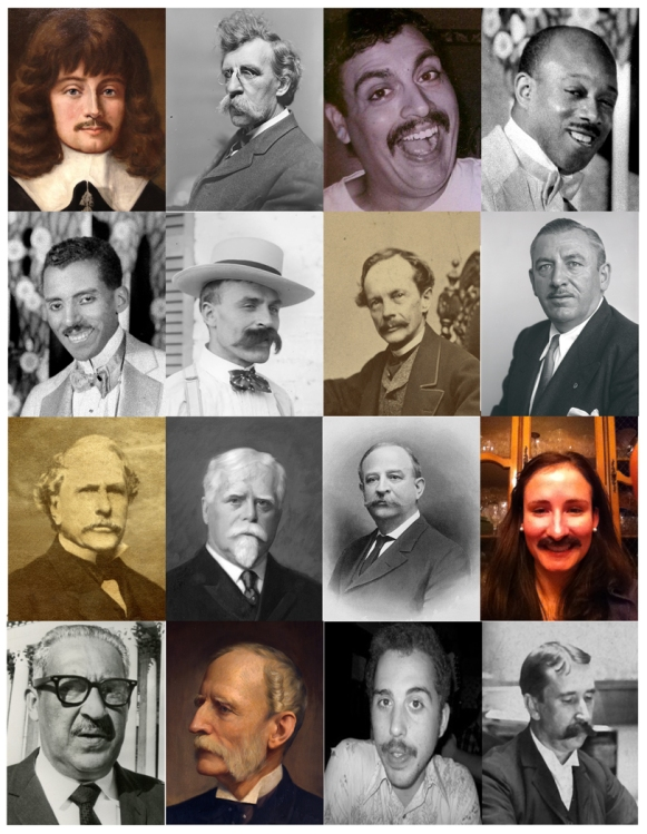 Who's who in Maryland Historical Mustaches: 1) Leonard Calvert - Proprietary governor, 1634-1647; 2) 78-18-109 - Unknown walrus mustache (MC9484); 3) Ron Barbagallo - MdHS IT Guy; 4) Eubie Blake (Z24.1350)- jazz musician & composer; 5) Noble Sissle (Z24.1350) - jazz musician & composer; 6) Francois Dubas (MC9482) - father of photographer John Dubas; 7) George William Brown (PFV) - Mayor of Baltimore 1860-61; 8) Thomas D'Alesandro Jr. (B679-B) - Mayor of Baltimore; 9) Arunah Shepherdson Abell (MC1262) - founder Baltimore Sun; 10) Gov. Edwin Warfield - Gov. of Md 1904-08; 11) Raphael Semmes - former MdHS librarian;  12) Ms. Alex Beiter - MdHS Annual Fund Manager; 13) Thurgood Marshall - U.S. Supreme Court Justice; 14) Severn Teakle Wallis (1896-4-1); 15) David Belew - MdHS Development Coordinator;  16) Herbert Baxter Adams - first professor of history at JHU.