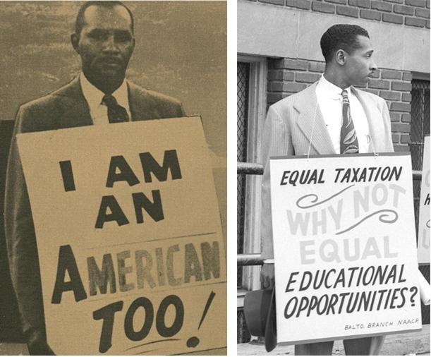 (left) Clarence Mitchell, Jr. staging a one man picket line supporting school desegregation in Baltimore, 1954, MdHS, Political Ephemera Collection.  (right) Parren Mitchell protesting segregation of teacher's training programs at Douglas High School, Paul Henderson, July 1948, MdHS, HEN.00.A2-161 (detail)