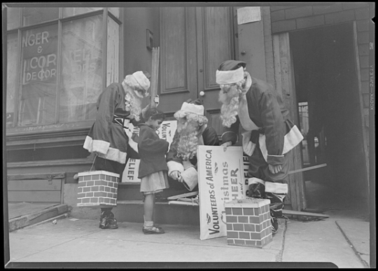 Santas of volunteers of America Christmas fund, undated, A. Aubrey Bodine, MdHS, B352a.