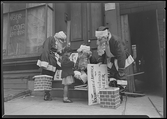 Santas of volunteers of America Christmas fund, undated, A. Aubrey Bodine, MdHS, B352a.