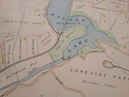The Lake Roland dam, eight miles north of downtown on the Jones Falls. Taken from the Bromley Atlas.