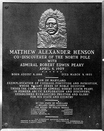 Image of the Matthew Henson Memorial Plaque located in the Maryland State House, Annapolis, MdHS, PAM 11,409.