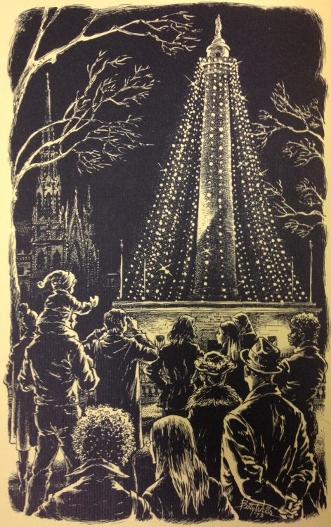 An image of the Washington Monument from Mayor Schaefer's 1973 holiday card. Original pen and ink drawn by Baltimoer artist Betty Wells. Ephemera, Series I, MdHS
