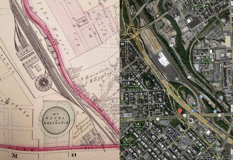 (L) Mt. Royal reservoir in 1877 from the Hopkins map of Baltimore. (R) Present day site taken from Googlemaps.