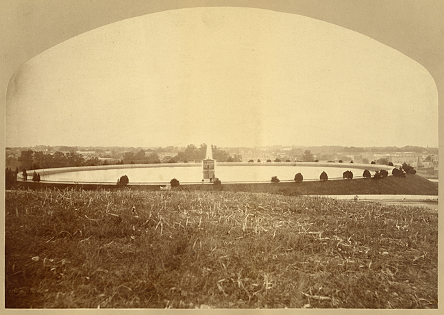 This photograph of the Mount Royal Reservoir was one of several photographs of Baltimore Waterworks in 1875 which were featured in a series of A. Hoen & Co. lithographic prints. SVF-Med Photograph- Baltimore Reservoirs, MdHS