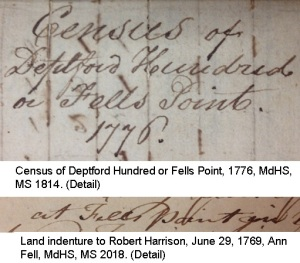 Census of Fells Point, Land indenture to Robert Harrison - details