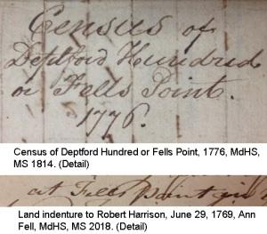 Census of Fells Point, Land indenture to Robert Harrison - details