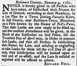Maryland Gazette, January 14, 1762, MdHS. The advertisement is dated January 4 but appeared  in the January 14, 1762 issue of the Maryland Gazette.