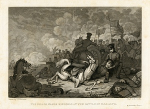 """""""The Fall of Major Ringgold at the Battle of Palo Alto,"""" drawn by T.H. Matteson, engraved by H.S. Sadd, Small Prints, MdHS."""