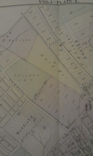 Lucy Hoe's plot of land. Taken from the Atlas of Baltimore and its Environs, 1877, MdHS.