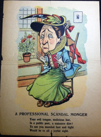 """A Professional Scandal Monger,"" ca. 1840-1910, MdHS, Valentine Ephemera, Series Z."