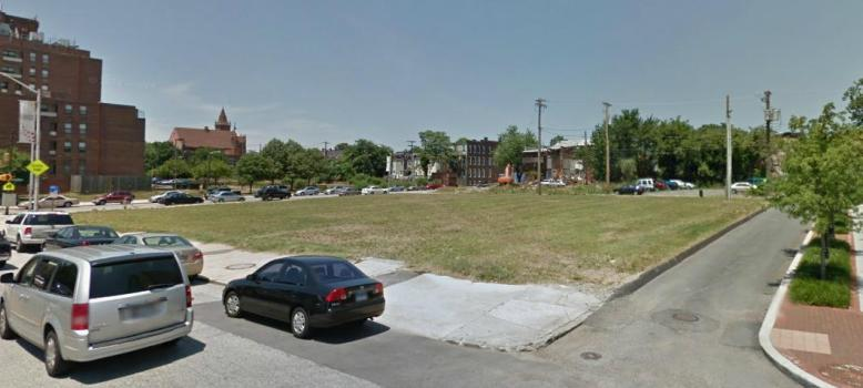 900 block, West Baltimore Street, corner of Amity Street, 2013, Photograph by Google.