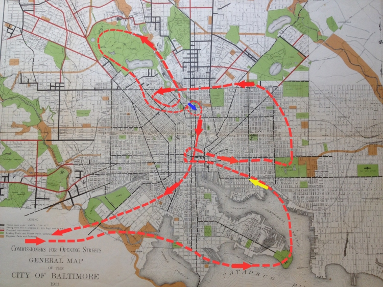 Latham's flight path over Baltimore on November 7, 1910. The yellow arrow represents the photo at the bottom of the post, and the blue arrow indicates where he circled around Ross R. Winan's mansion. The Indiana Jones effect was photoshopped on top of a Commisioners for Opening Roads, General Map of Baltimore, 1911 from our map collection.