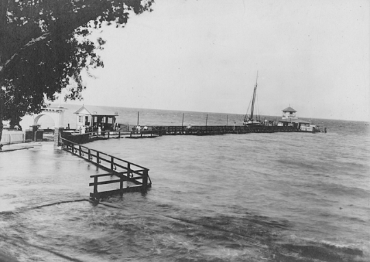 "This same pier at Tolchester Beach can be seen in the background of ""Go See the Whale at Tolchester."" Tolchester Park, ca. 1915, MdHS, PP128-24"